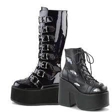 ladies black biker boots demonia gothic boots goth shoes platform boots free shipping