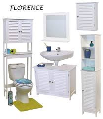 free standing bath linen tower cabinet louvre florence white