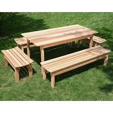 Picnic Table With Benches Plans A U0026 L Furniture Yellow Pine Traditional Square Picnic Table With 4