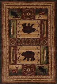 Rustic Area Rugs Bear Tracks Brown Outdoor Rug Cabin Place