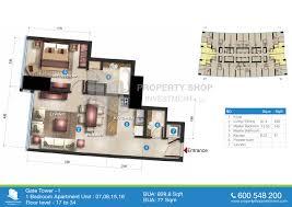 200 Sq Ft Apartment Floor Plan by Floor Plan Of Gate Tower 1 Al Reem Island