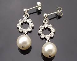 wedding earrings drop pearl and rhinestone drop earrings miranda