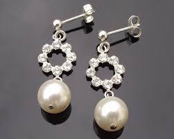 wedding earrings drop pearl and rhinestone drop earrings miranda