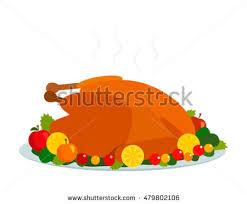 roast turkey herbs cranberries day thanksgiving stock vector