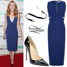 katherine mcnamara blue dress black patent pumps steal her style