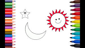 how to draw and color sun star moon children coloring book and