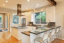Bright White Kitchen Cabinets Brown Square Ceramic Wall Tile White Wooden Kitchen Counter Brown