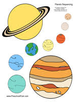preschool planets coloring sequencing mobile toddlers