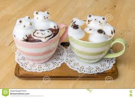 Cute Coffee Cups Two Coffee Cup And Latte Art Stock Photo Image 71698195