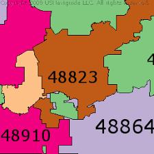 area code map of michigan lansing michigan zip code boundary map mi