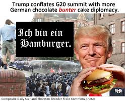 trump conflates g20 summit with more german chocolate