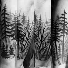 grey and black ink forest tree on lower sleeve golfian com