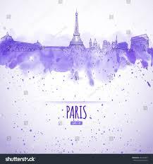 sights paris style sketch watercolor stock vector 231426367