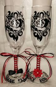 joker harley quinn champagne wedding anniversary gift glasses
