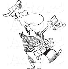 nut coloring page vector of a cartoon nut vendor holding up a bag coloring page