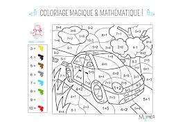 Coloriage magique et mathématique  la voiture  Momesnet