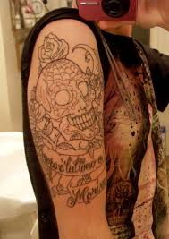 outline sugar skull and half sleeve tattoos