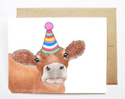 cow greeting cards birthday card etsy