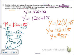 common core math write a linear equation given a word problem