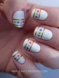 polka dots nails with striping tape they remind me of easter eggs