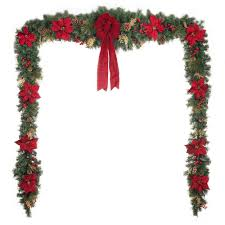 Garland Hangers For Banister Christmas Garland Christmas Wreaths U0026 Garland The Home Depot