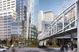 public plaza u0026 pedestrian bridge outside 50 west street revealed