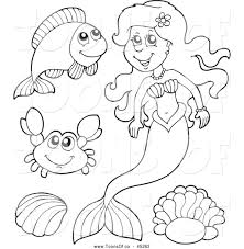 vector cartoon of a black and white happy mermaid and sea
