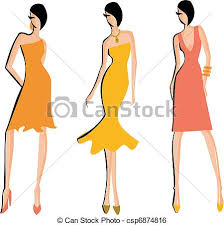 fashion sketch sketch of three models posing in elegant clip