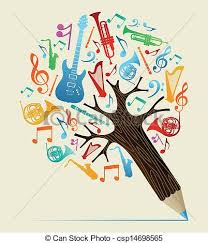clip vector of musical studies concept pencil tree