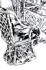 tom mallon ink drawing of wicker furniture ink pen on paper