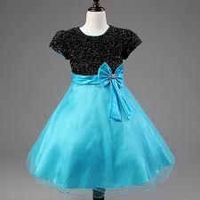 kids short sleeve bow sparkle dress for girls 2017 high waisted