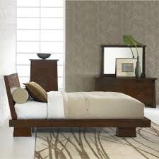 Stylish Bed Frames Stylish Geometric Printed Rug And Coffee Brown Modern Platform Bed