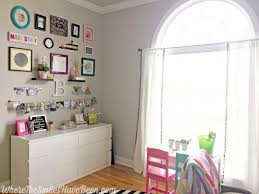 Pink Craft Room - colorful craft room gallery wall