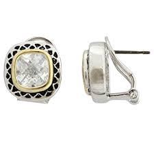 pierced earrings diamond cz omega clip pierced earrings chic creations jewelry