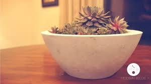 diy modern concrete bowl planter modern builds ep 1 youtube