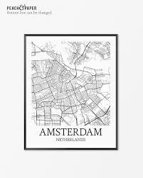 Map Of Amsterdam Amsterdam Map Art Print Amsterdam Poster Map Of Amsterdam Decor