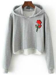 rose embroidered cropped hoodie rose 50th and men hats