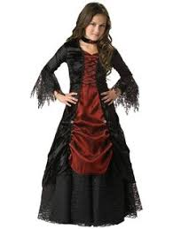 Vampire Halloween Costumes Kids Girls Black Lace Vampira Girls Costume Version