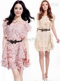 new summer dresses women print pattern loose short chiffon dress