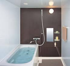 compact small bathroom layout with brown wall decor wall lamp