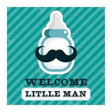 blue baby shower greeting card with mustache baby bottle royalty