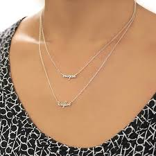 necklace with names images Personalized sterling silver double layer necklace 2 names gallery