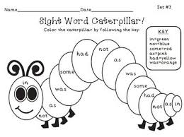 free hungry caterpillar sight word color picture