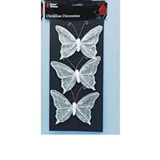 Glitter Butterfly Christmas Decorations by Pack Of 3 12cm White Beautiful Glittery Butterfly Christmas Tree
