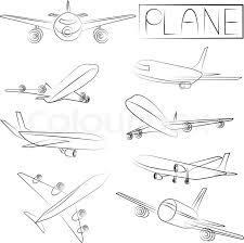 sketch plane icons set stock vector colourbox