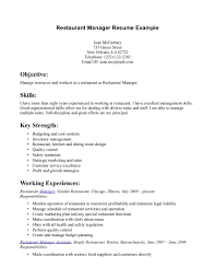 Objectives In Resume Example by Restaurant Manager Resume Example Http Www Resumecareer Info