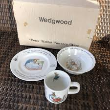 wedgwood rabbit nursery set vintage rabbit nursery set by wedgwood 3 set mug plate