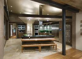 Kitchen Island Post Metal Ceiling Beams Kitchen Contemporary With Slanted Ceiling