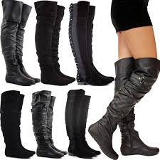 flat biker boots womens ladies black flat heel over the knee thigh high suede