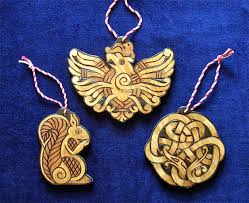 cedar yule ornaments nidhogg ratatosk and eagle heathen yule